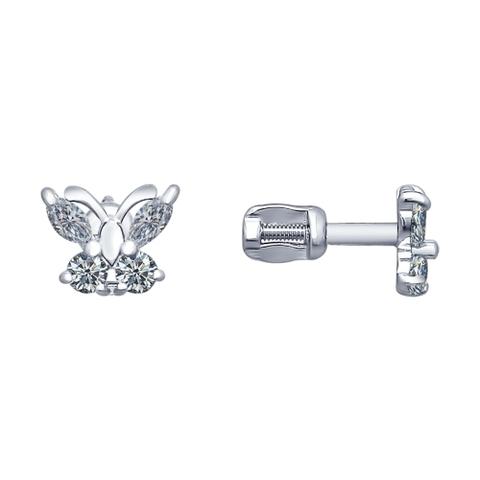 94020535- Серьги-пусеты бабочки из серебра