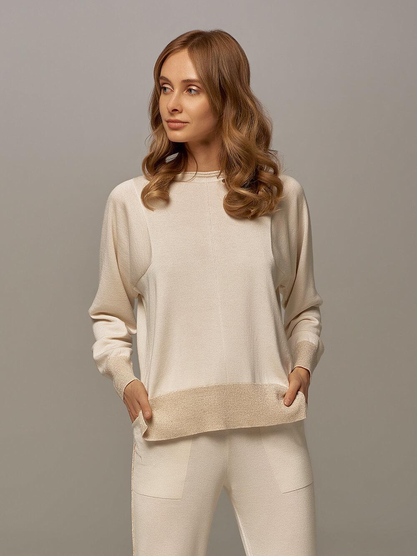 Женский джемпер белого цвета из шелка и кашемира - фото 1