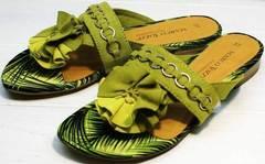 Легкие шлепанцы открытые сандалии женские Marco Tozzi 2-27104-20 Green.