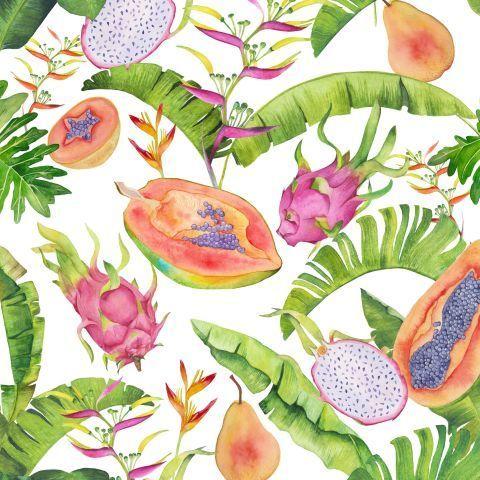 Экзотические фрукты акварелью: папайя, груша, драгонфрут