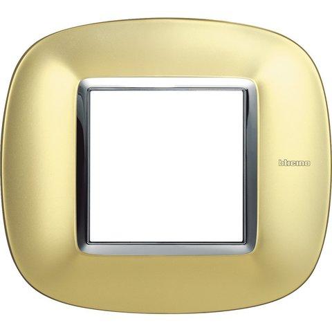Рамка 1 пост, овальной формы. ГЛЯНЦЕВЫЕ. Цвет Матовое золото. Немецкий/Итальянский стандарт, 2 модуля. Bticino AXOLUTE. HB4802OSN