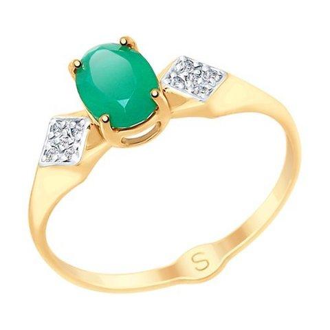 715059 - Кольцо из золота с агатом и фианитами