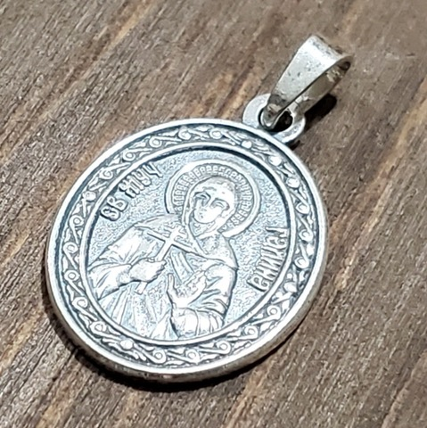 Нательная именная икона святая Галина с серебрением кулон медальон с молитвой