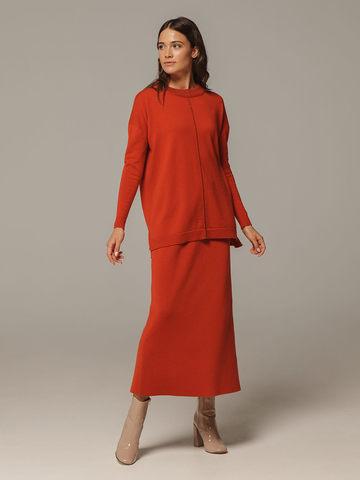 Женский оранжевый джемпер свободного кроя из шерсти и кашемира - фото 5