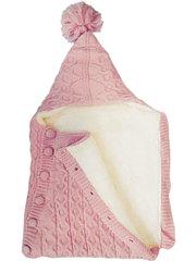 Папитто. Конверт вязаный на пуговицах полушерстяной с подкладкой велсофт, розовый вид 2