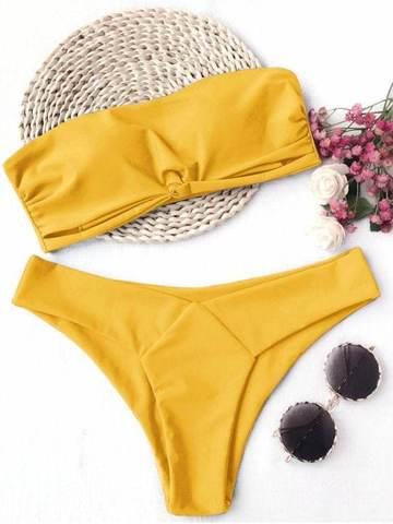 Купальник раздельный бандо желтый classic yellow 1