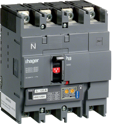 Выключатель автоматический, h250, электронный расцепитель, LSI, 4P4D Icu=50kA при Ue=415В, Ir=250-100A, Ue до 690В 50/60 Гц