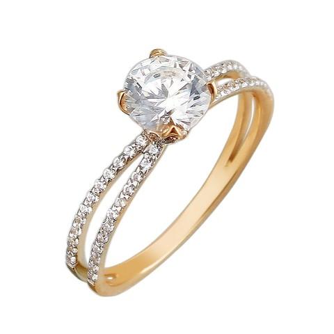 01К1111295 -Помолвочное кольцо из золота 585 пробы в стиле Tiffany