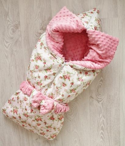 Одеяло - конверт - трансформер на выписку Утренняя роза