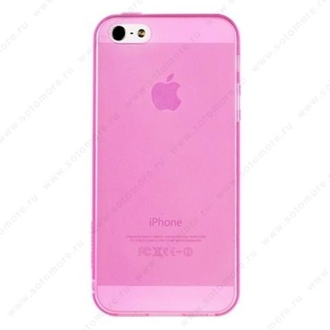 Накладка REMAX из TPU для iPhone SE/ 5s/ 5C/ 5 с прозрачными бортами розовая