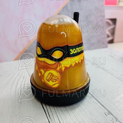Слайм-лизун Slime Ninja надувающийся, с трубочкой, цвет: Золотистый