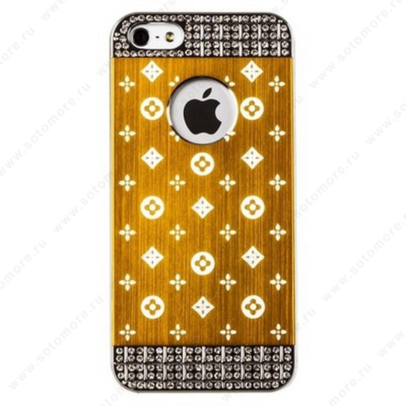 Накладка LV металлическая для iPhone SE/ 5s/ 5C/ 5 серебро золотистая