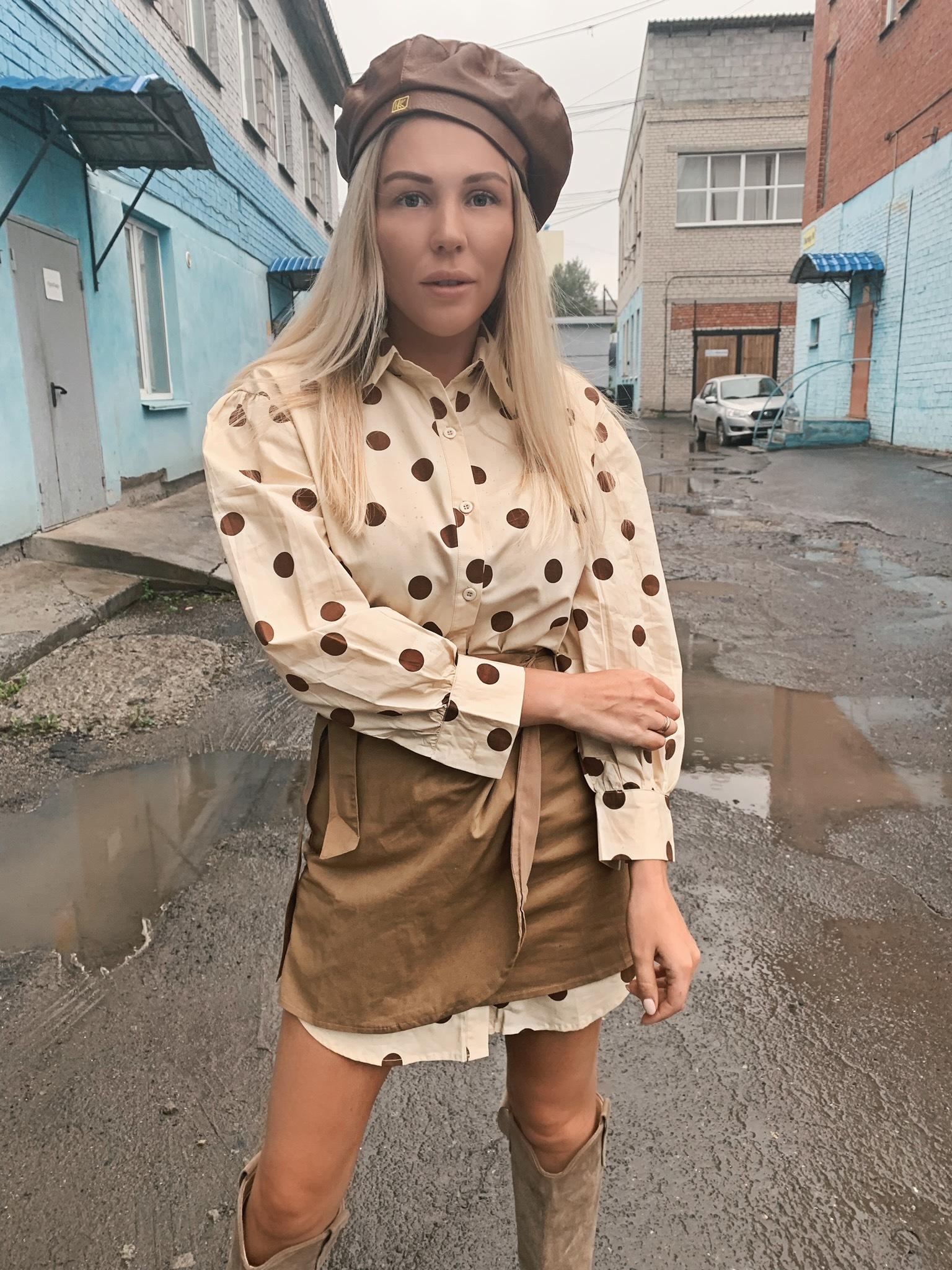 Комплект удлиненная рубашка в горох и юбка