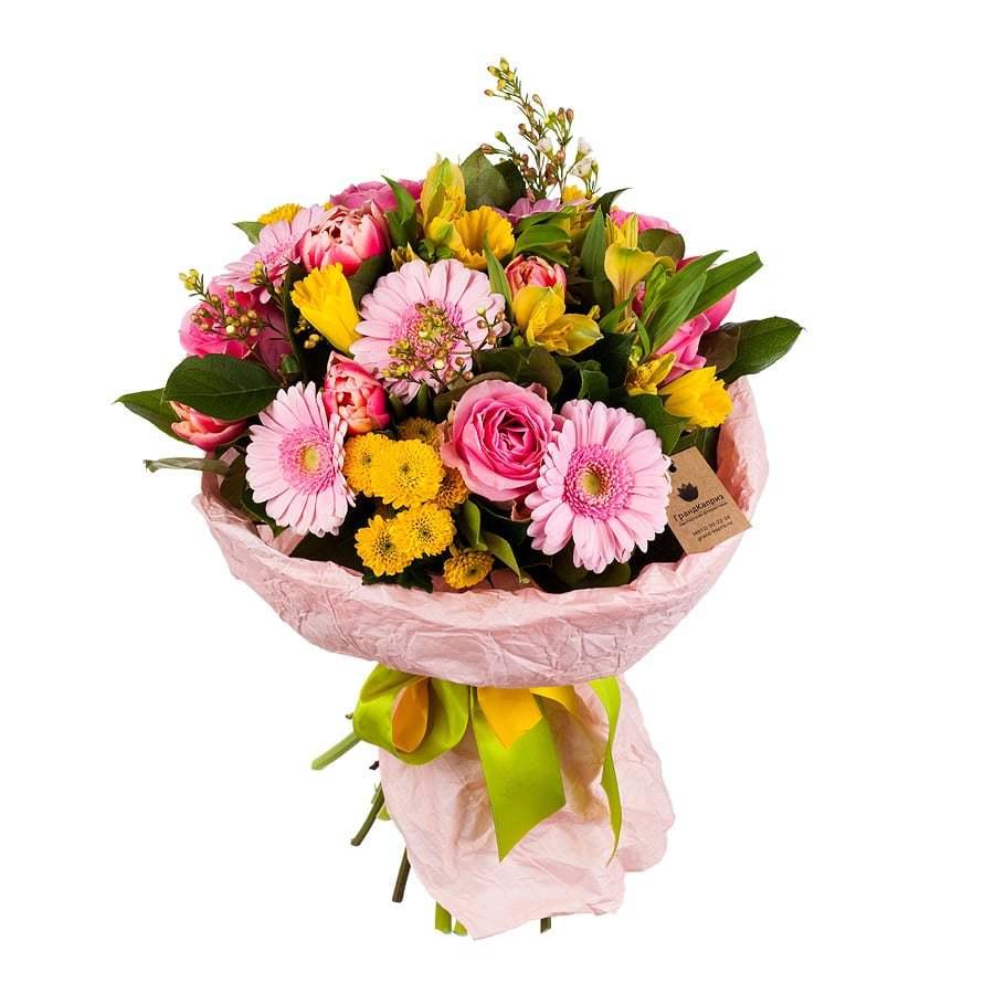 Букет из роз и гербер - Нежные чувства.