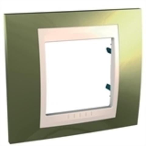 Рамка на 1 пост. Цвет Золото/Бежевый. Schneider electric Unica Хамелеон. MGU66.002.504