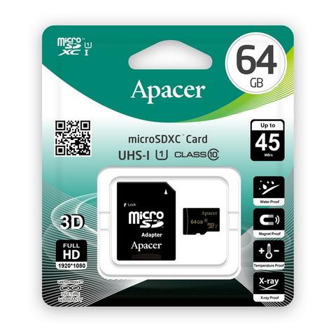 Карта памяти Apacer microSDHC 64GB UHS-I Class 10 (c адаптером) (AP64GMCSX10U1-R)