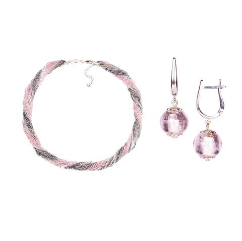 Комплект украшений серо-розовый №1 (серьги-бусины, ожерелье из бисера 24 нити)