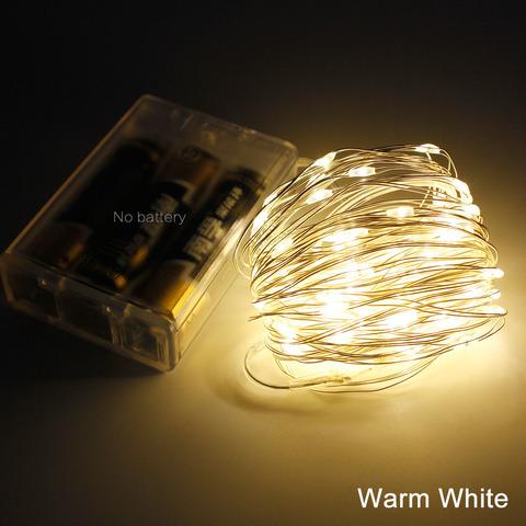 Светодиодная гирлянда на тонкой металлической проволоке теплый белый свет