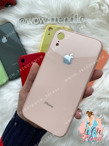 Чехол iPhone XR Glass Pastel color Logo /pink sand/