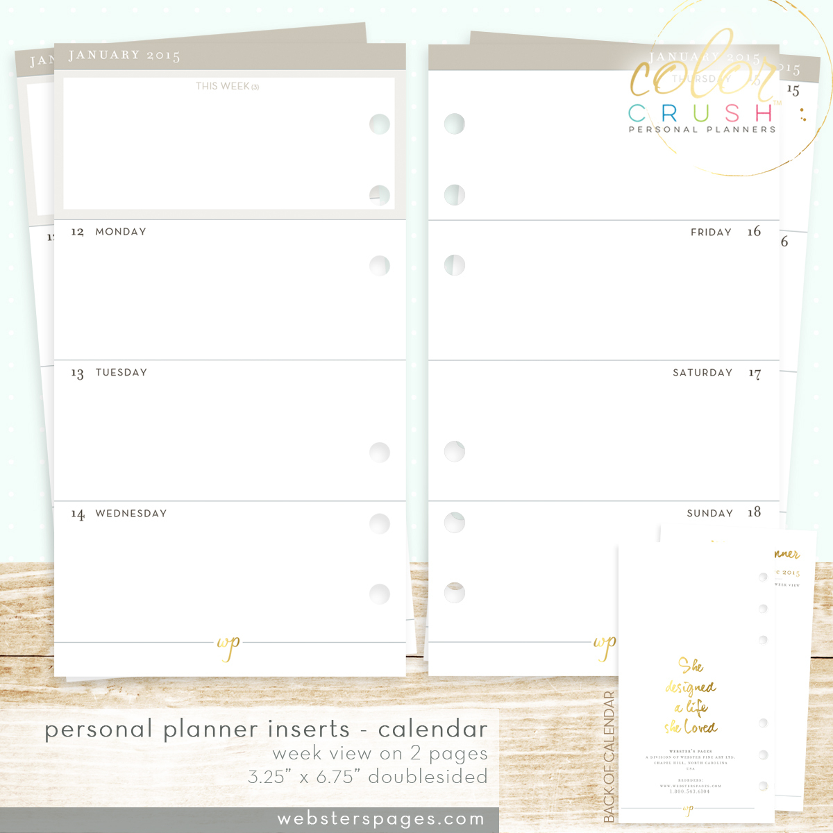 Планер PERSONAL PLANNER KIT : Light Pink  by Websters Pages