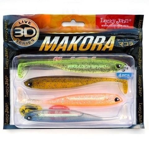 Виброхвост LJ 3D Series Makora Shad Tail 5.0in (12,7 см), цвет MIX1, 4 шт.