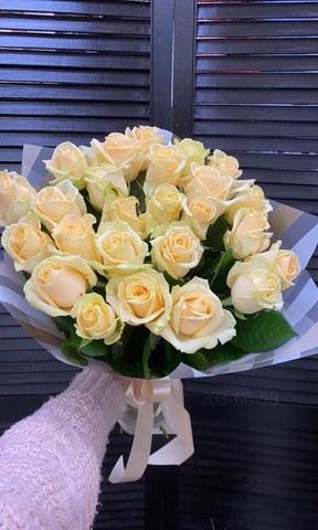 25 кремовых роз 50 см в оформление #29666