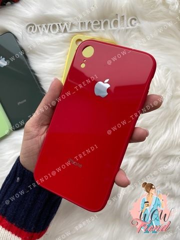 Чехол iPhone XR Glass Pastel color Logo /red/