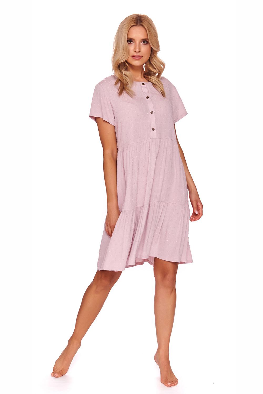 Элегантная розовая сорочка из вискозы с планкой на кнопках