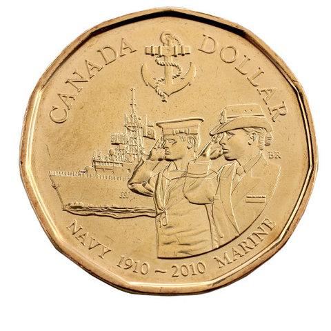 1 доллар 100 лет королевскому канадскому военно-морскому флоту 2010 год, Канада. UNC