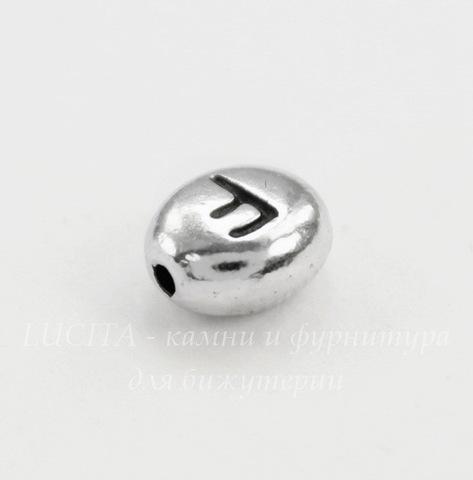 """Бусина овальная TierraCast """"Буква F"""" 7х6х3 мм (цвет-античное серебро)"""