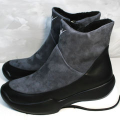 Полусапожки женские зимние +на танкетке Jina 7195 Leather Black-Gray