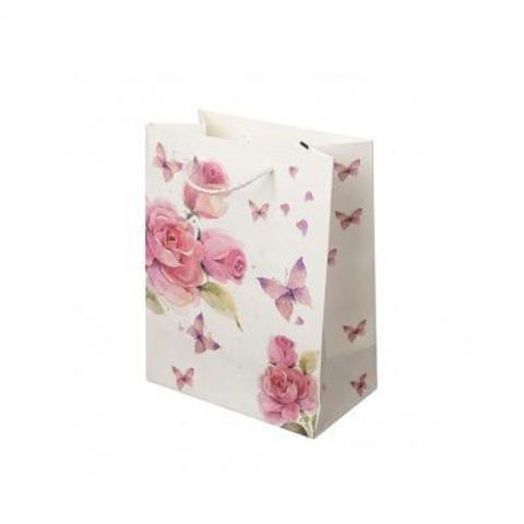 Пакет подарочный Цветы и Бабочки, 18хН23см (в уп. 12 шт.), белый/ розовый