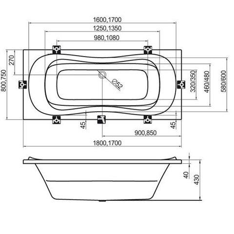 Ванна акриловая Ravak Campanula II 170x75 CA21000000 схема