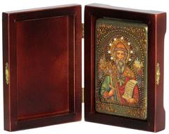 Инкрустированная икона Святой равноапостольный князь Владимир 15х10см на натуральном дереве в подарочной коробке