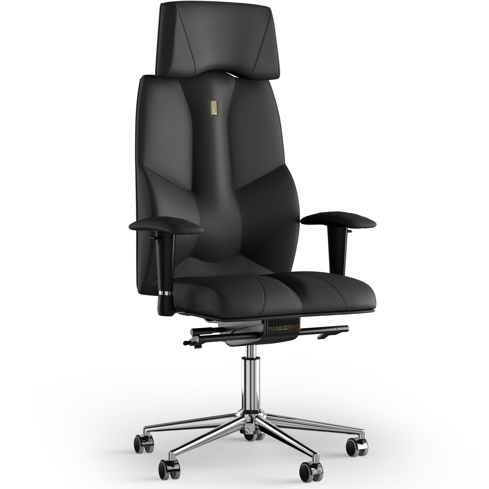 Кресло KULIK SYSTEM BUSINESS Экокожа с подголовником без строчки