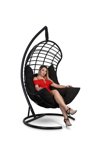 Подвесное кресло-кокон БАРСЕЛОНА ПЛЮС черное + каркас + черная подушка
