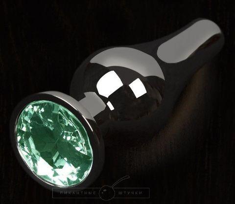 Графитовая удлиненная анальная пробка с зеленым кристаллом - 12 см.