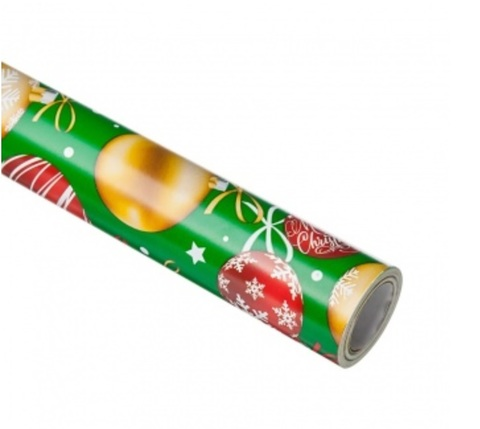 Бумага упаковочная Елочные шары, 70 см 10 м, зеленый