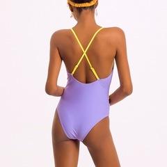 купальник слитный желтый лиловый с сеточкой