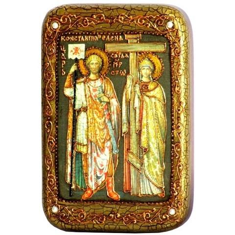Инкрустированная Икона Святые равноапостольные Константин и Елена 15х10см на натуральном дереве, в подарочной коробке