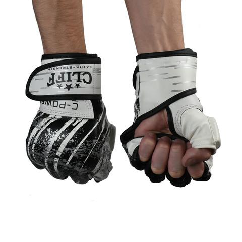 Перчатки ММА Cliff бело-черные