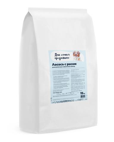 Для самых преданных™ корм для собак всех пород Лосось с рисом, 15кг.