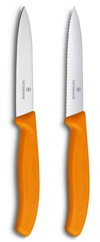 Набор Victorinox кухонный, 2 предмета, лезвие прямое и волнистое, оранжевый