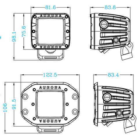 Светодиодная фара  2 рабочего  света Аврора  врезная ALO-EK-2-E4T ALO-EK-2-E4T  фото-5