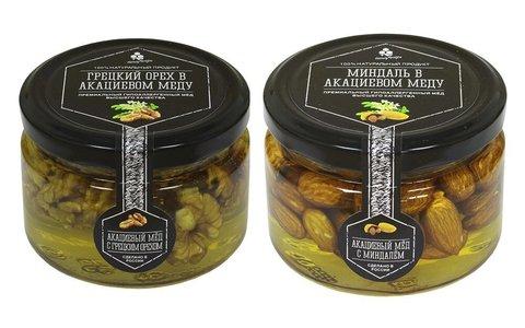 Набор (2 шт.) орехов в акациевом меду: грецкий и миндаль, 500 г
