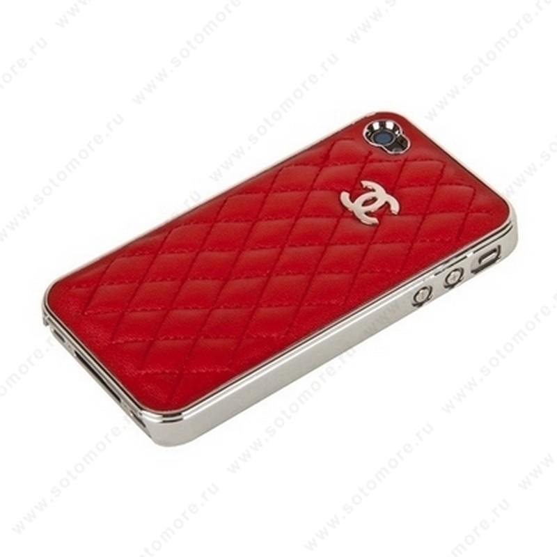 Накладка CHANEL для iPhone 4s/ 4 серебряная+красная кожа