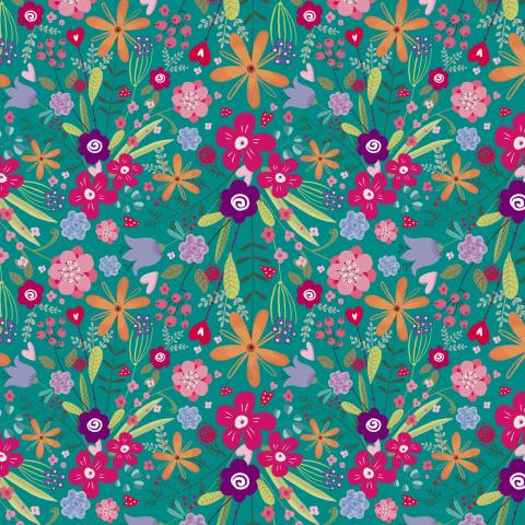 милый цветочный узор с разноцветными маргаритками на бирюзовом фоне