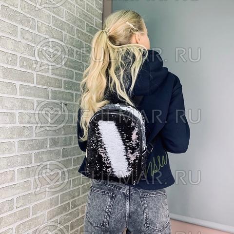 Рюкзак с пайетками меняющий цвет Чёрный-Белый модель Мila
