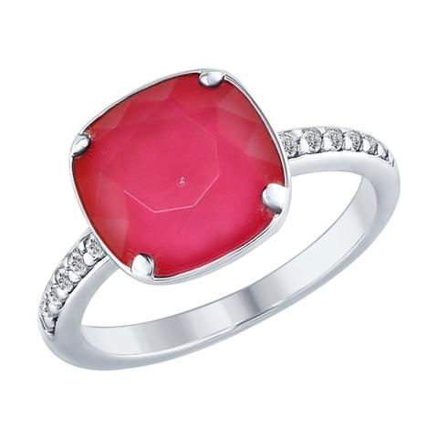 94012432- Кольцо из серебра с кристаллом Swarovski