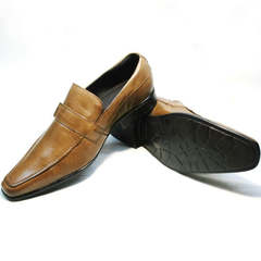 Мужские кожаные туфли на выпускной Mariner 12211 Light Brown
